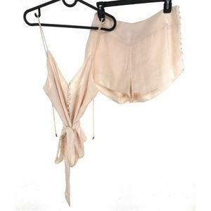 Ecru Lab L Large Cami Shorts Set Cream Satin NEW